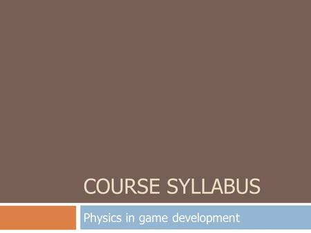 Physics in game development