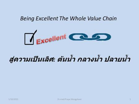 Being Excellent The Whole Value Chain สู่ความเป็นเลิศ : ต้นน้ำ กลางน้ำ ปลายน้ำ 1/10/2015Dr.med.Prapa Wongphaet1.