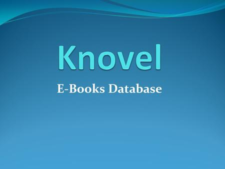 Knovel E-Books Database.