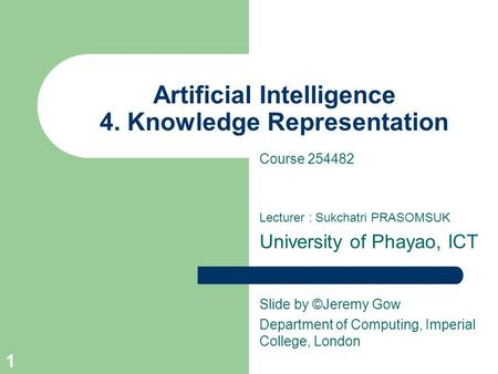 Artificial Intelligence 4. Knowledge Representation Course 254482 Lecturer : Sukchatri PRASOMSUK University of Phayao, ICT Slide by ©Jeremy Gow Department.
