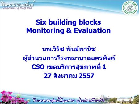 Six building blocks Monitoring & Evaluation