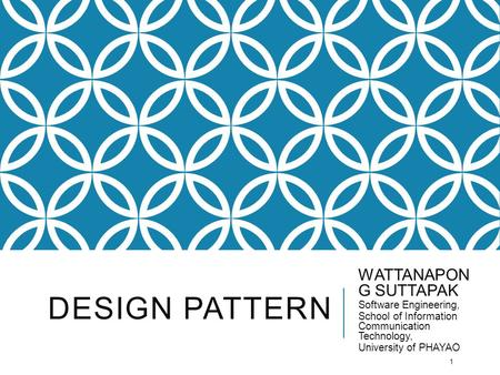 Design pattern WATTANAPONG SUTTAPAK Software Engineering,