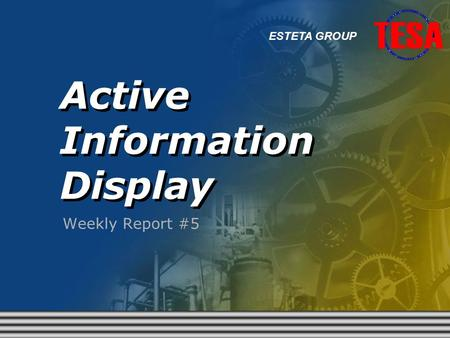 Active Information Display Weekly Report #5 ESTETA GROUP.