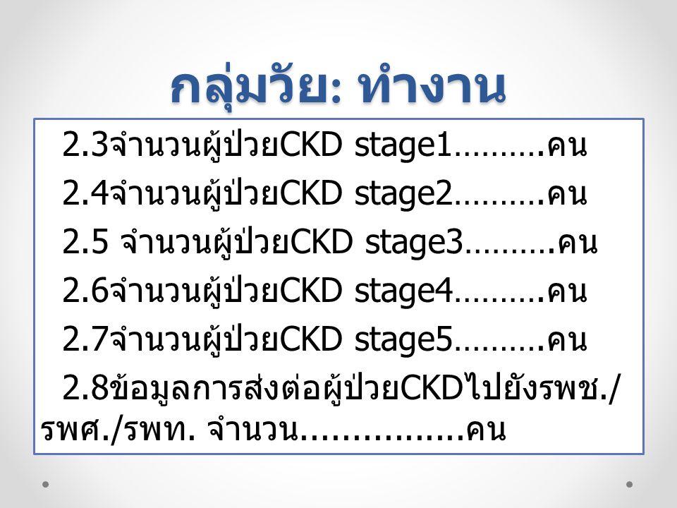 กลุ่มวัย : ทำงาน 3.CKDstage1-2 ในรพ.สต.
