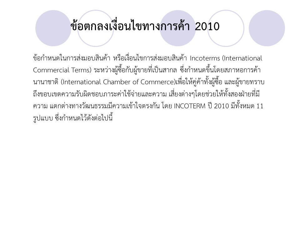 INCOTERMS 2010 GROUP E EXW - Ex Works (...
