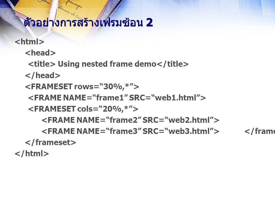 tag … tag … ใช้กำหนดส่วนของเอกสารที่จะให้แสดงโดย browser ที่ไม่สามารถแสดงเฟรมได้ มีรูปแบบดังนี้ … ถ้ามีการใช้เฟรมควรใส่ส่วน ไว้เสมอเพื่อให้ผู้ใช้ที่ใช้ browser ที่ไม่สามารถแสดงเฟรมได้ ใช้ได้ตามปกติเหมือนไม่มีเฟรม