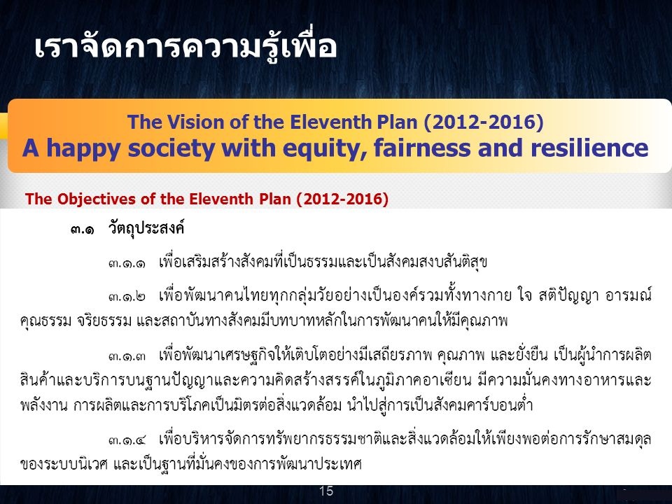 เราจัดการความรู้เพื่อ The Vision of the Eleventh Plan (2012-2016) A happy society with equity, fairness and resilience The Main Targets of the Eleventh Plan (2012-2016) 16