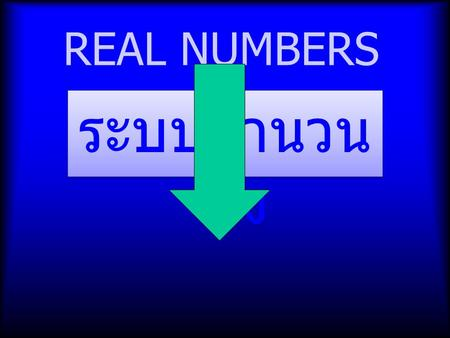 REAL NUMBERS ระบบจำนวน จริง. Real Number System 1.Natural numbers are the numbers we used in counting and they are 1, 2, 3, 4, 5, 6,.... (positive numbers,