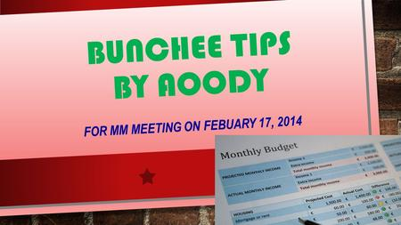 BUNCHEE TIPS BY AOODY FOR MM MEETING ON FEBUARY 17, 2014.