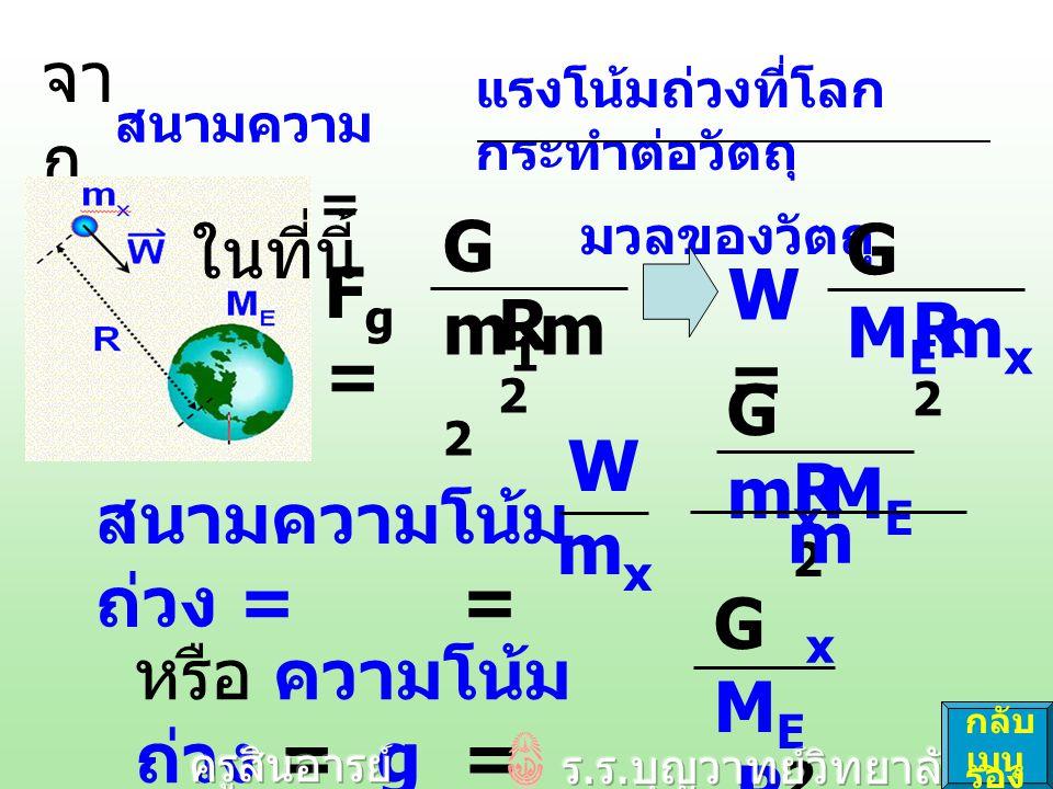 ความโน้มถ่วง = g = GMER2GMER2 GMERE2GMERE2 ดังนั้น M E = g R E 2 G เราวัดค่า g, R E, G ได้ ดังนั้น จึง คำนวณหา M E คือ มวล ของโลก ได้ กลับ เมนู รอง ที่ผิว โลก จา ก