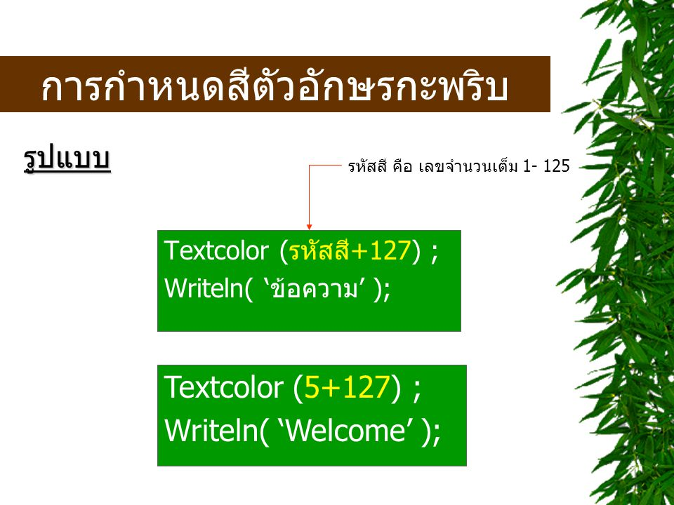 แบบทดสอบ > New > Exam02 Alt + C Alt + R ATTAWIT COMMERCIAL COLLEGE Computer Department PWS 2 ------------------------------------------ Enter to exit >