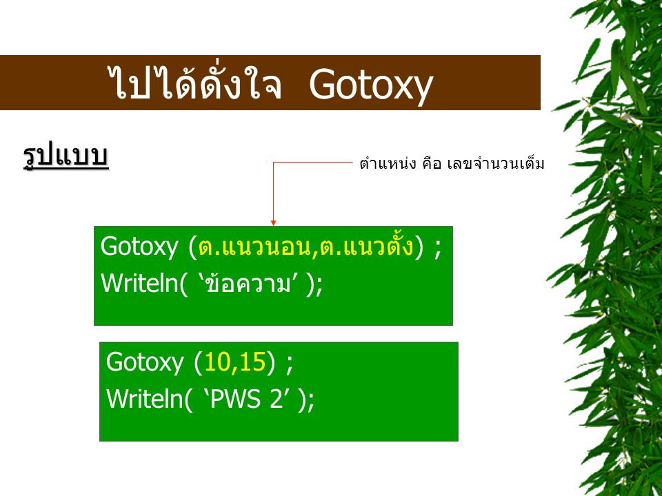 ให้แทรกคำสั่งดังนี้ Gotoxy (15,5) ; Writeln( 'Number' ); Gotoxy (15,15) ; Writeln( 'Name' ); Gotoxy (15,25) ; Writeln( 'Price' ); Gotoxy (15,35) ; Writeln( 'Amount' );