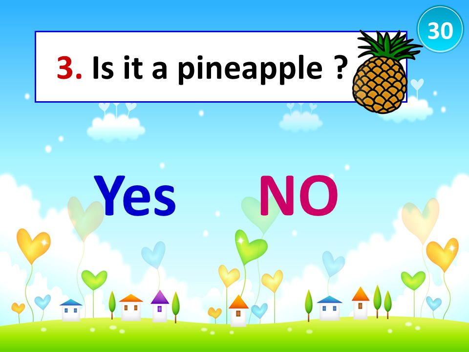 30 3. Is it a pineapple ? YesNO
