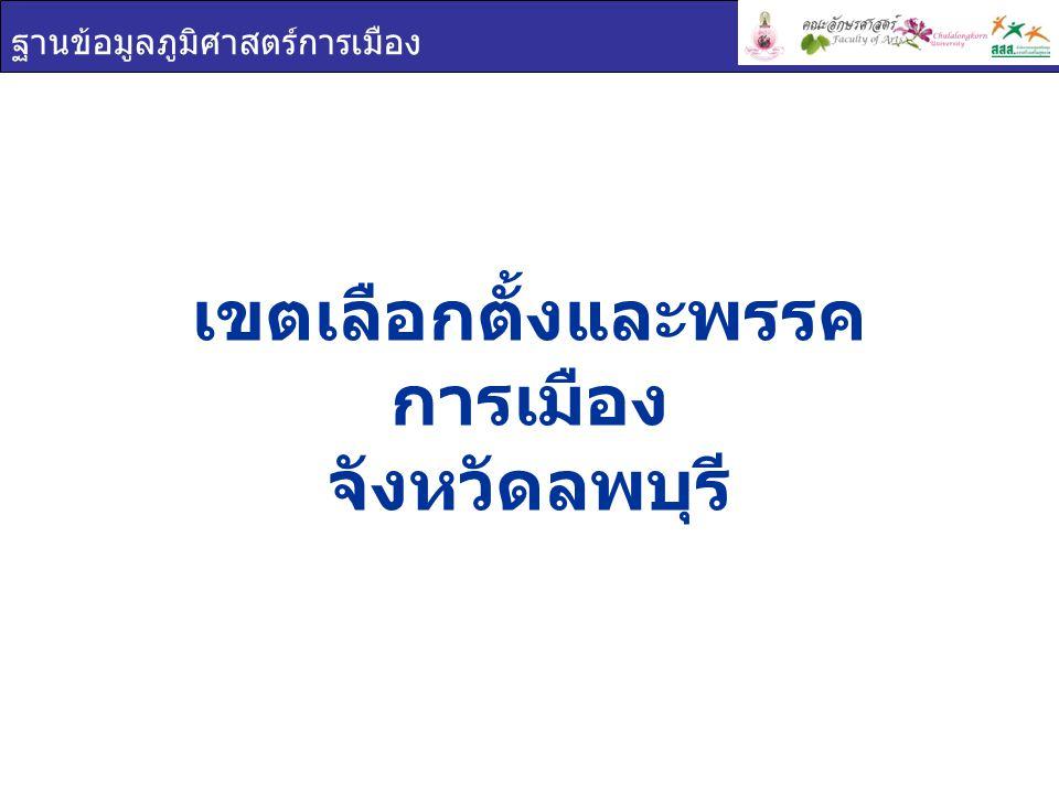 ฐานข้อมูลภูมิศาสตร์การเมือง เขตเลือกตั้ง จังหวัดลพบุรี เขต 1 เขต 2