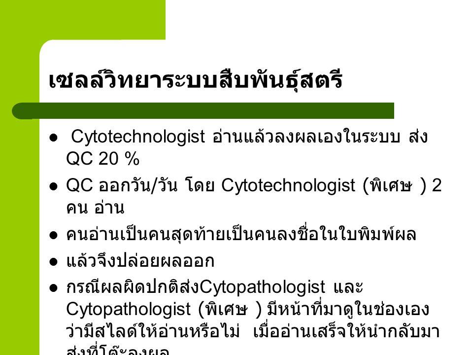 ระบบอื่นๆ ในร่างกาย อ่านโดย Cytotechnologist, Cytotechnologist ( พิเศษ ) ในรายที่ปกติให้ออกผลได้เลย ในรายที่ผิดปกติต้องส่งต่อให้ Cytopathologist และให้เจ้าหน้าที่พิมพ์ผล พิมพ์และ Cytopathologist เป็นคนปล่อยผล ไม่ได้ทำ QC ทำเทียบผลกับชิ้นเนื้อในรายที่ผลผิดปกติเท่านั้น ทั้ง 2 ระบบ
