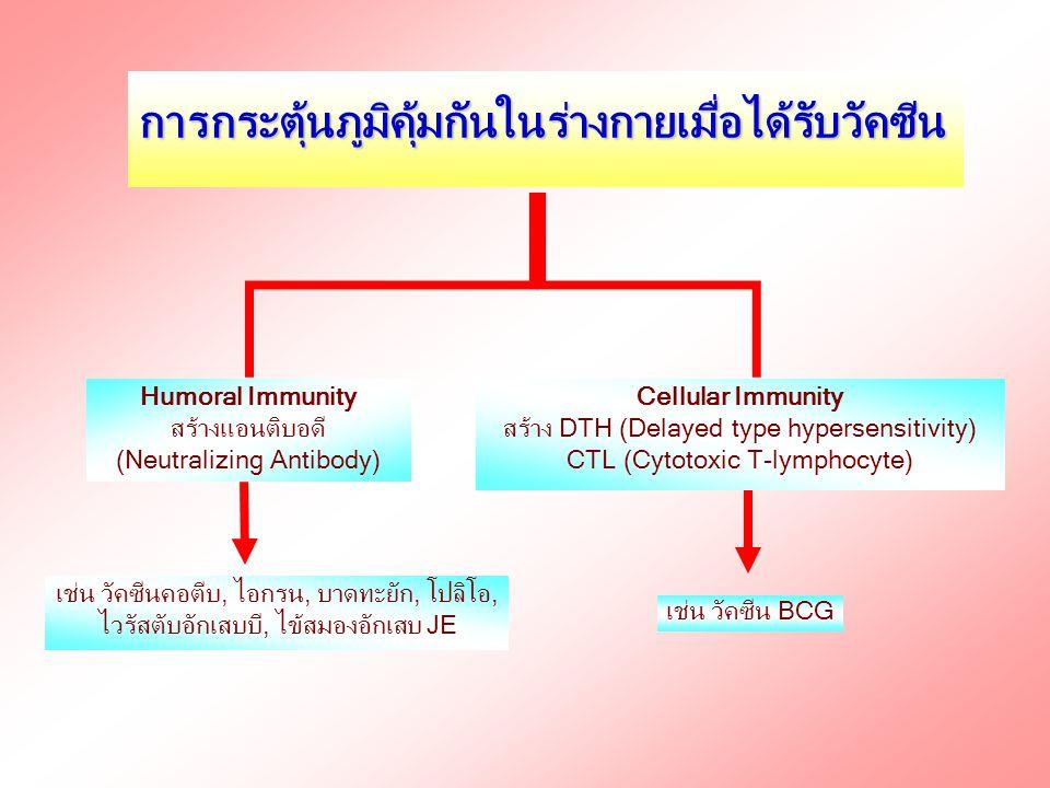 รูปแบบต่างๆ ของวัคซีน วัคซีนอาจอยู่ในรูปของ 1.