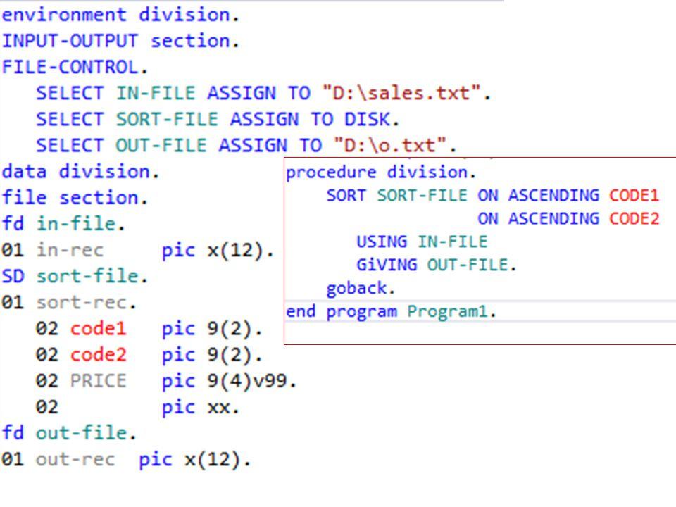 SORT code1 code2 price SORT