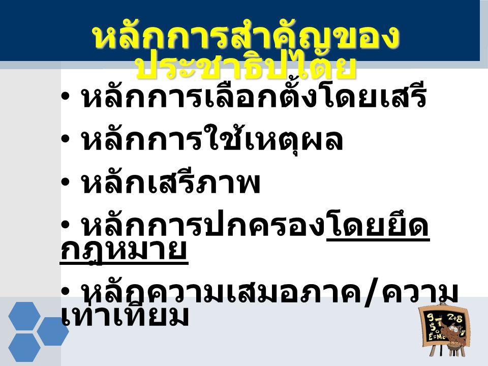  รัฐธรรมนูญ  สถาบันพระมหากษัตริย์  สถาบันนิติบัญญัติ / รัฐสภา  สถาบันบริหาร / รัฐบาล  สถาบันตุลาการ / ศาล  พรรคการเมือง โครงสร้างทาง การเมือง