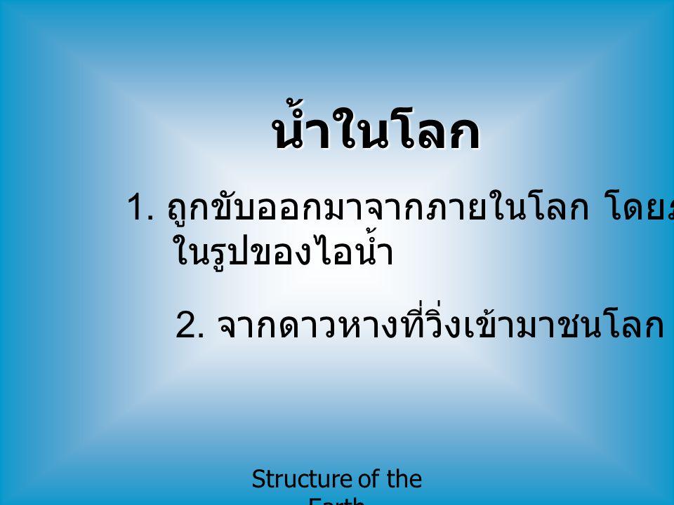 Structure of the Earth ลักษณะภายในของโลก แบ่งเป็น 3 ชั้น ( ตามองค์ประกอบทางเคมี ) 1.