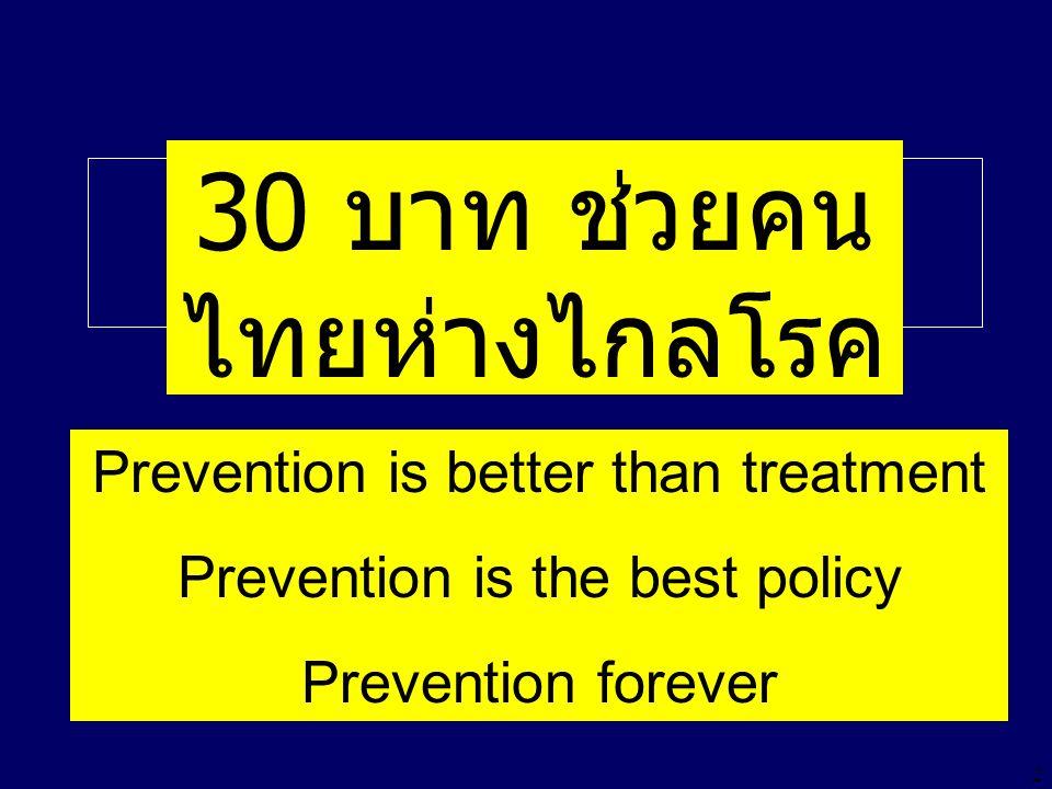 2 30 บาทรักษาทุกโรค 30 บาท ช่วยคน ไทยห่างไกลโรค Treatment Treatment Treatment Treatment Treatment Treatment Treatment Treatment Treatment Treatment Treatment Treatment Treatment Treatment Treatment Prevention is better than treatment Prevention is the best policy Prevention forever
