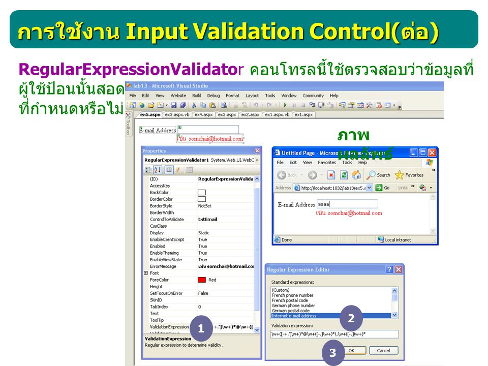 การใช้งาน Input Validation Control( ต่อ ) CustomValidator คอนโทรลนี้ใช้ในการตรวจสอบว่าผู้ใช้กรอก ข้อมูลมาถูกต้องตามเงื่อนไขที่เรากำหนดขึ้นมาเองหรือไม่ <asp:CustomValidator id= ชื่ออ้างอิง ControlToValidate= ชื่อControl ClientValidationFunction= ชื่อฟังก์ชั่นหรือโพรซีเยอร์ OnServerValidate= ชื่อฟังก์ชั่นหรือโพรซีเยอร์ ErrorMessage= ข้อความที่จะแสดงใน ValidationSummary Text= ข้อความที่จะแสดง ForeColor= สีตัวอักษร Backcolor= สีพื้น