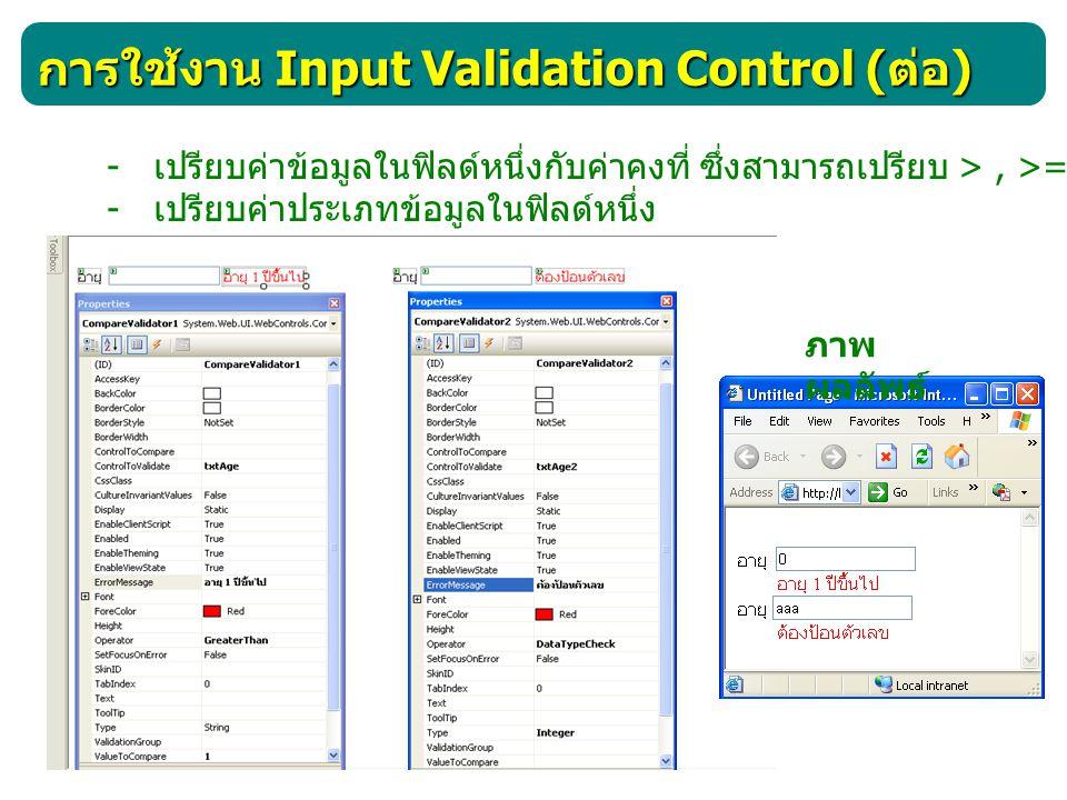 การใช้งาน Input Validation Control( ต่อ ) RangeValidator คอนโทรลนี้ใช้ตรวจสอบว่าข้อมูลที่ผู้ใช้ป้อนอยู่ ภายในขอบเขตที่กำหนดหรือไม่ ภาพ ผลลัพธ์