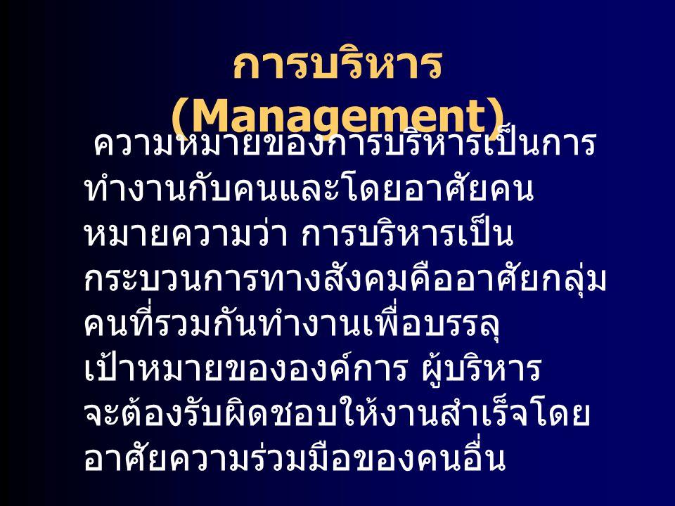 ลักษณะและงานของ องค์การ มีวัตถุประสงค์ (organizational purposes) มีการแบ่งงานกันทำ (division of labor) มีสายบังคับบัญชาแบ่งเป็นชั้น ลดหลั่นกันลงมา (hierarchy of authority)