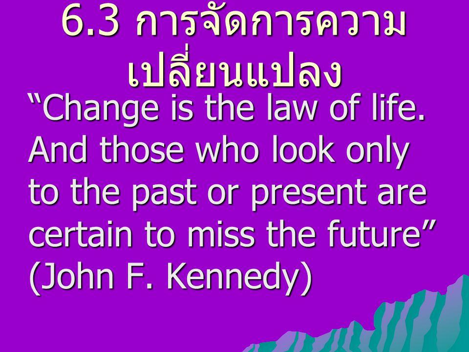 6.3 การจัดการความ เปลี่ยนแปลง 6.3.1 ปัจจัยที่มีผลต่อความ เปลี่ยนแปลงของศูนย์ สารสนเทศ 6.3.2 เหตุที่บุคคลต่อต้าน ความเปลี่ยนแปลง 6.3.3 บทบาทของผู้บริหารใน การจัดการความ เปลี่ยนแปลง