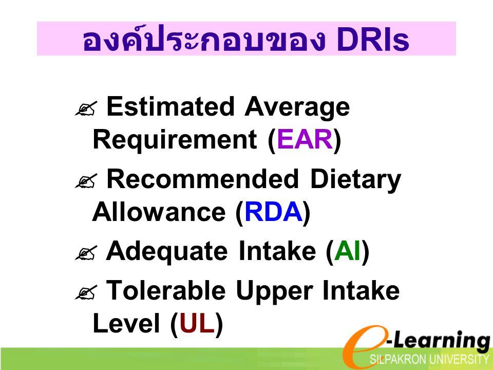 องค์ประกอบของ DRIs  Estimated Average Requirement (EAR)  Recommended Dietary Allowance (RDA)  Adequate Intake (AI)  Tolerable Upper Intake Level (UL)