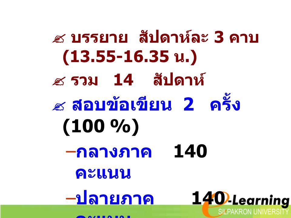  บรรยาย สัปดาห์ละ 3 คาบ (13.55-16.35 น.)  รวม 14 สัปดาห์  สอบข้อเขียน 2 ครั้ง (100 %) – กลางภาค 140 คะแนน – ปลายภาค 140 คะแนน