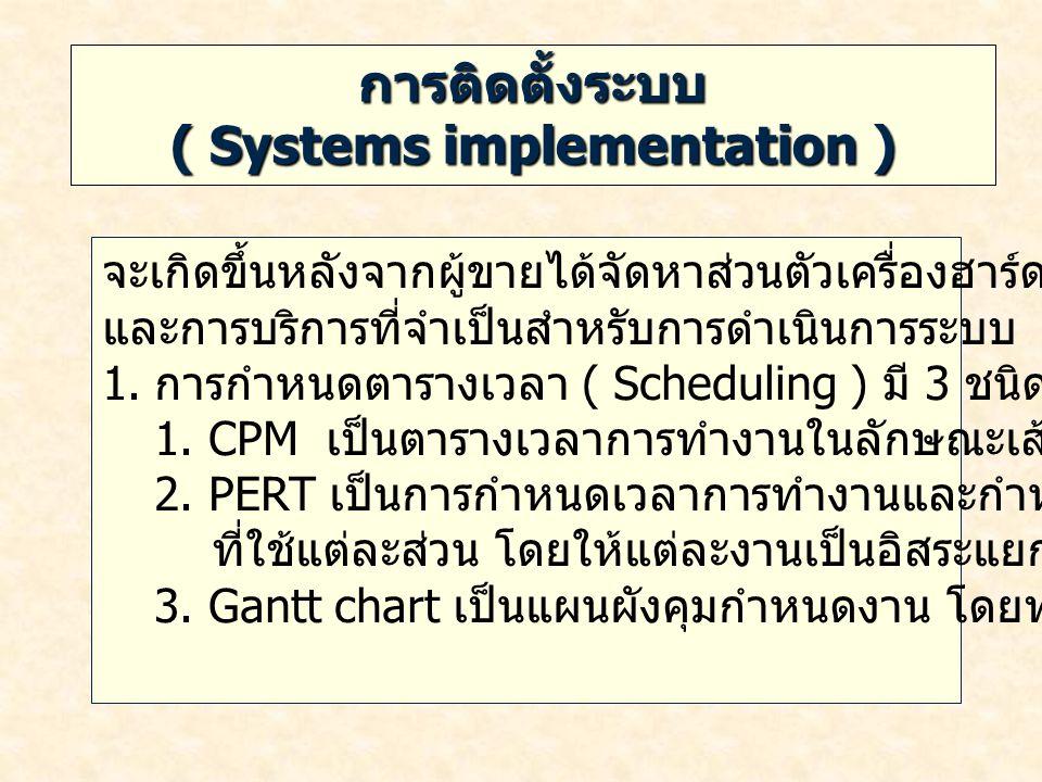 การติดตั้งระบบ ( ต่อ ) ( Systems implementation ) 2.
