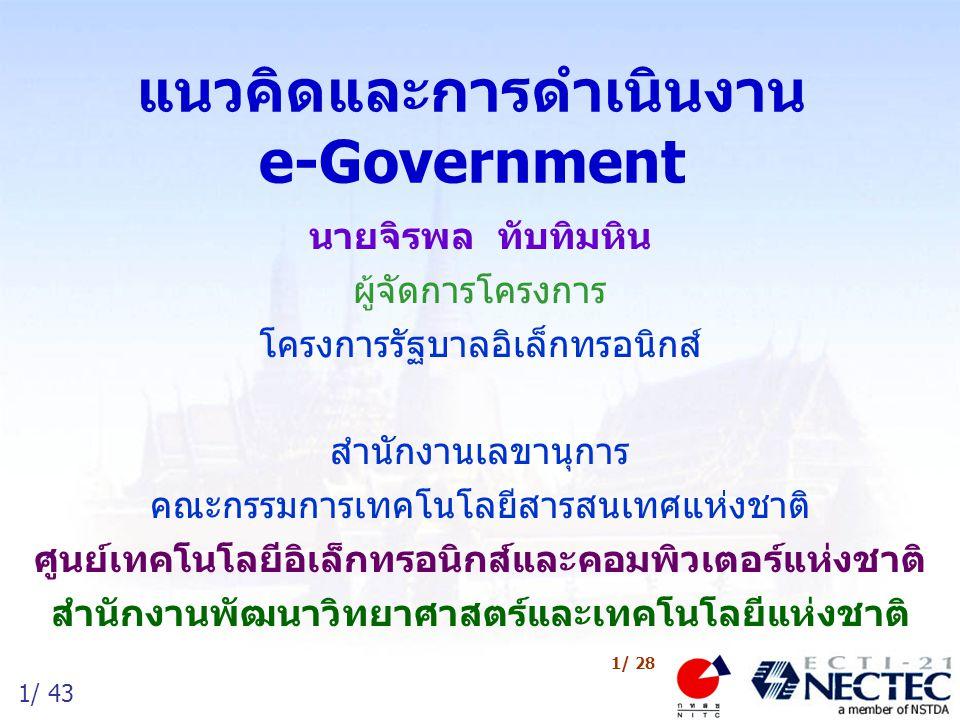 2/ 43 2/ 28 หัวข้อการนำเสนอ การพัฒนาเทคโนโลยีสารสนเทศและการสื่อสาร ของไทย ความหมายและวิสัยทัศน์ ของ e-Government ภาพรวมการดำเนินงาน e-Government ของไทย ปัจจัยแห่งความสำเร็จในการพัฒนาไอทีภาครัฐ ผลการประชุมเชิงปฏิบัติการ ยุทธศาสตร์การพัฒนา ICT ของไทย