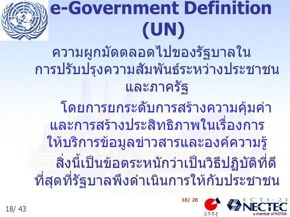 19/ 43 19/ 28 e-Government Definition (โครงการรัฐบาลอิเล็กทรอนิกส์) วิธีการบริหารจัดการภาครัฐสมัยใหม่ โดยการ ใช้เทคโนโลยีสารสนเทศและการสื่อสาร เพื่อ –เพิ่มประสิทธิภาพของการดำเนินงานของภาครัฐ –ปรับปรุงการบริการแก่ประชาชน –ให้บริการด้านข้อมูลและสารสนเทศ เพื่อส่งเสริม การพัฒนาเศรษฐกิจและสังคม –ให้ประชาชนใกล้ชิดภาครัฐมากขึ้น