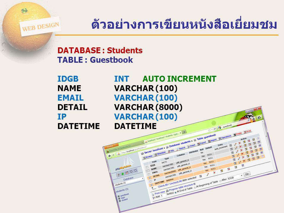ตัวอย่างการเขียนหนังสือเยี่ยมชม <?php $host = localhost ; $user = root ; $pass = 12345678 ; $dbname = Students ; if($condb= mysql_connect($host,$user,$pass)){ $selectdb = mysql_select_db($dbname,$condb); mysql_db_query($dbname, SET NAMES UTF8 ); } else { echo ไสามารถติดต่อฐานข้อมูล MySQL ได้ ; } ?> connectdb.php