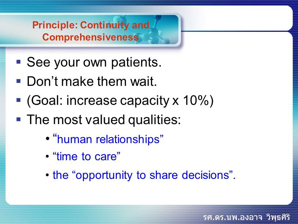 รศ.ดร.นพ.องอาจ วิพุธศิริ Principle: Quality of Care  Quality clinical care is not doctor work,  it is team work.  The best clinical care is not delivered by physician visits alone