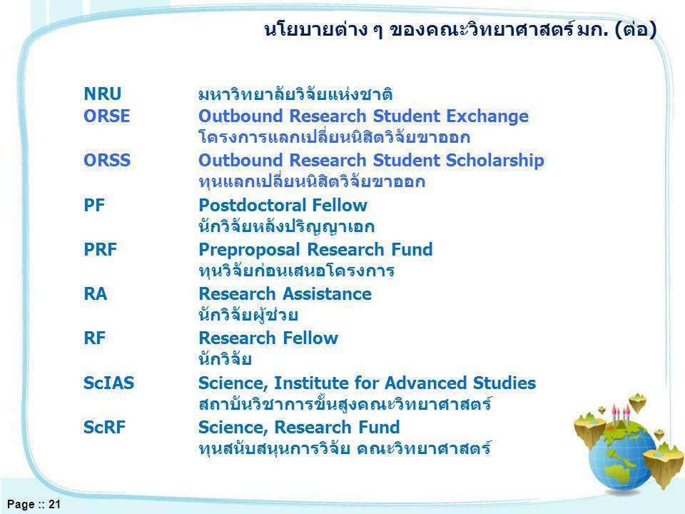 SFSeeding Fund ทุนวิจัยก่อตัว SRFSenior Research Fellow นักวิจัยทรงคุณวุฒิ SRUSpecial Research Unit หน่วยงานวิจัยเชี่ยวชาญเฉพาะ TRF-ScKURFทุนวิจัยร่วม สกว.-วท.มก.