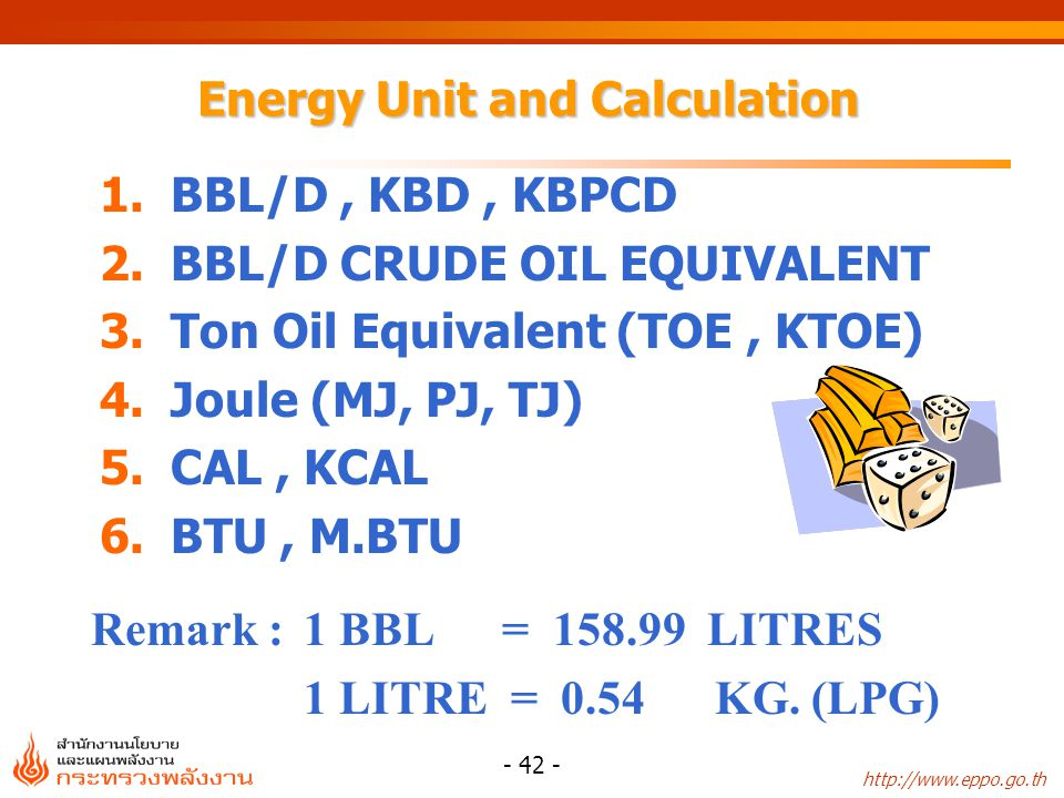 http://www.eppo.go.th - 43 - Measured Units NoProductionUnit 1CrudeBarrel, BBLD, BLD,KBD 2Pet.