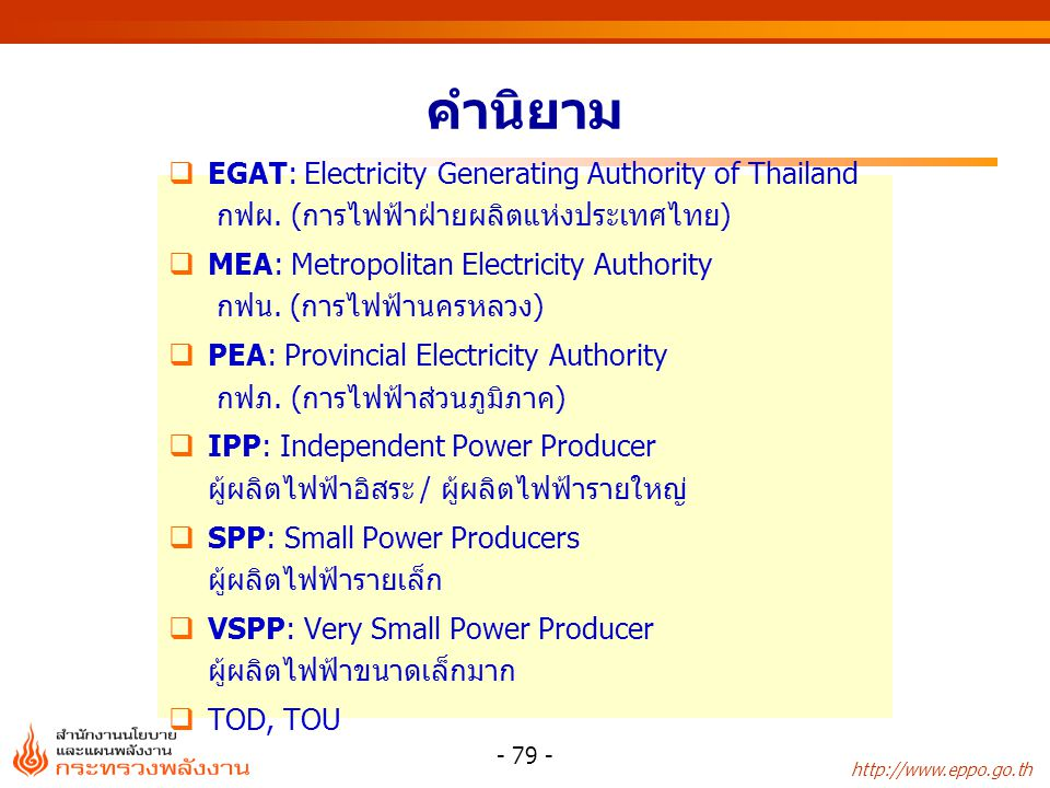 http://www.eppo.go.th - 80 - โครงสร้างกิจการไฟฟ้าในไทย ซื้อต่างประเทศ (3%) SPPs (10%) กฟผ.
