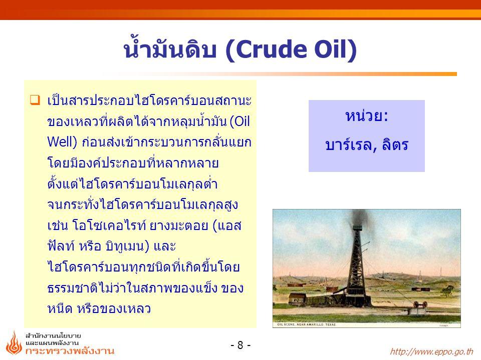 http://www.eppo.go.th - 9 - แหล่งน้ำมันดิบที่สำคัญ แหล่งผู้ผลิต เบญจมาสChevron Offshore ยูโนแคลChevron Thailand E&P สิริกิต์PTTEP จัสมินPerl Oil ทานตะวันChevron Offshore บึงหญ้าและบึงม่วงSINO US Petroleum ฝางกรมการพลังงานทหาร