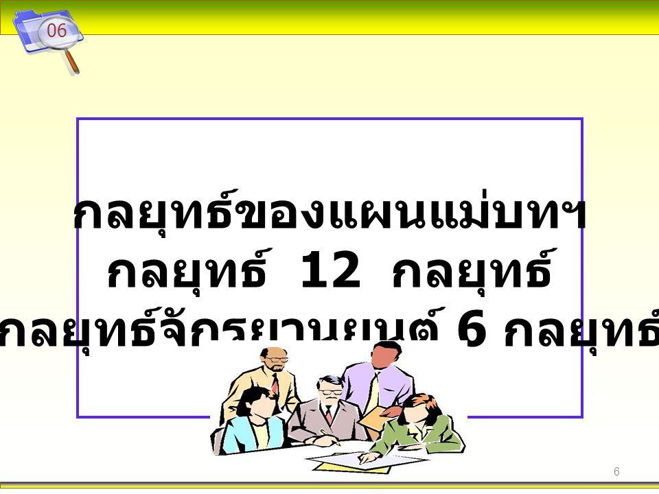 7 07 แผนงานตามยุทธศาสตร์และกลยุทธ์ ของแผนแม่บท 1.