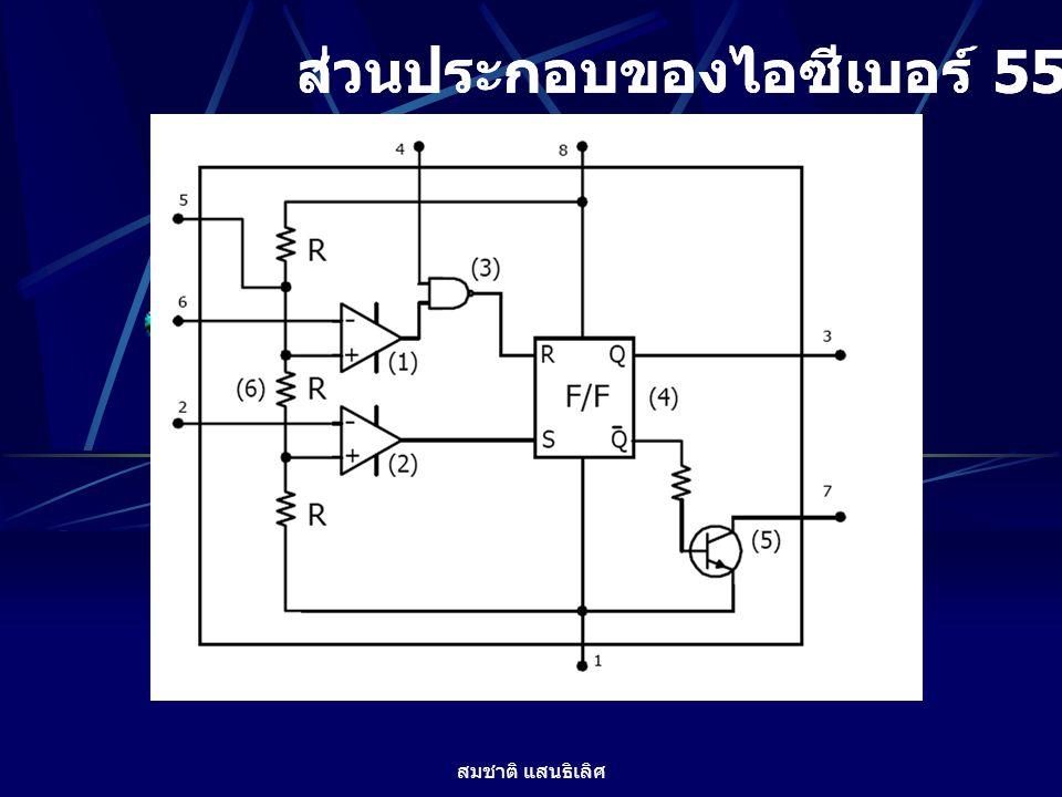 สมชาติ แสนธิเลิศ ขาใช้งานของไอซี 555 1. GND เป็นขาสำหรับต่อกราวด์ของแหล่งจ่ายไฟ