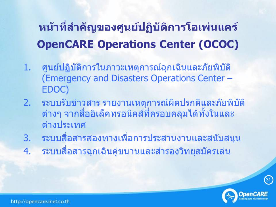 OC Chairman ศวสส Director TRCSNTC EMS-MOHDPR ITUUNDP NDWCDDPM NECTECIFRC HAMCB Opr 1 Opr 2 Military 1 CAT Vice Commander Supreme Commander Vice Commander PoliceFire 32