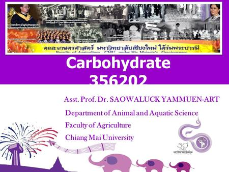 Asst. Prof. Dr. SAOWALUCK YAMMUEN-ART Department of Animal and Aquatic Science Faculty of Agriculture Chiang Mai University Carbohydrate 356202.