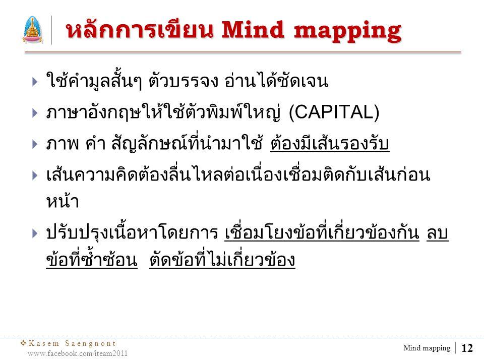  Kasem Saengnont www.facebook.com/iteam2011 13 Mind mapping เครื่องมือและขั้นตอน การเขียน เครื่องมือ กระดาษเปล่า, ปากกาหลากสี, ยางลบ, หัว เรื่องที่กำหนด ขั้นตอนการเขียน ๑.