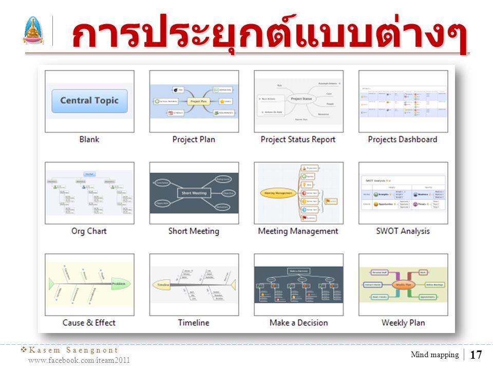  Kasem Saengnont www.facebook.com/iteam2011 18 Mind mapping การสร้าง mind mapping วิธีใช้ กด Insert เพื่อเพิ่ม Main Topic Double Click เพื่อ แก้ไขข้อความ กด Delete เพื่อลบสิ่ง ต่างๆ
