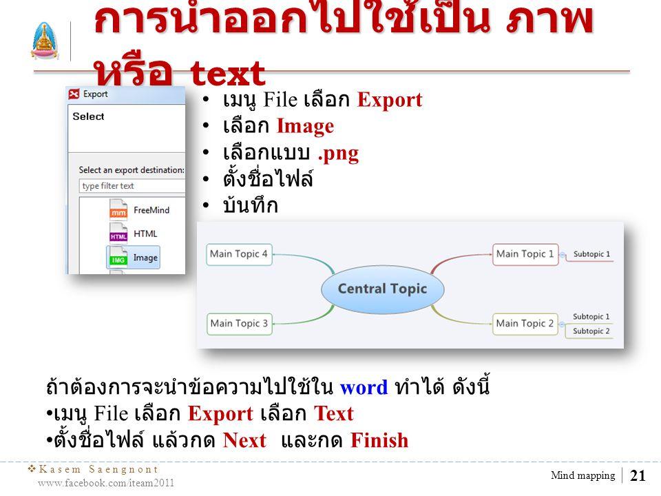  Kasem Saengnont www.facebook.com/iteam2011 22 Mind mapping การพิมพ์ การพิมพ์ (Print) 1.