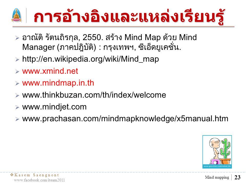  Kasem Saengnont www.facebook.com/iteam2011 24 Mind mapping Thank you.