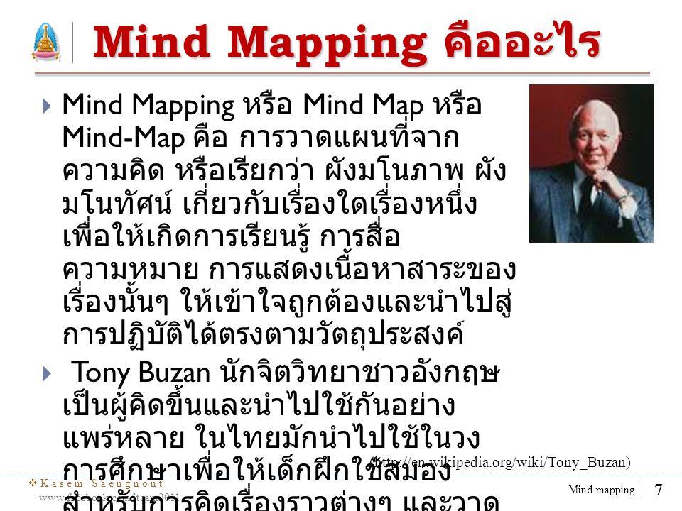  Kasem Saengnont www.facebook.com/iteam2011 8 Mind mapping Mind Mapping มี ประโยชน์อย่างไร  Mind Mapping เป็นแผนผัง (Diagram) ใช้เพื่อ แสดงคำหรือแนวความคิดของเรา โดยเริ่มจาก จุดศูนย์กลาง แล้วกระจายออกไปเพื่อแสดงให้ เห็นถึงองค์ประกอบภาพรวมของเรื่องนั้นๆ ซึ่ง Mind Mapping จะช่วยให้...