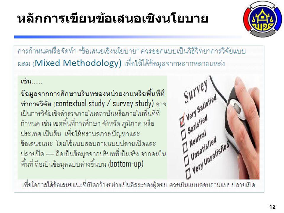 หลักการเขียนข้อเสนอเชิงนโยบาย 13 3 – 4 แหล่ง