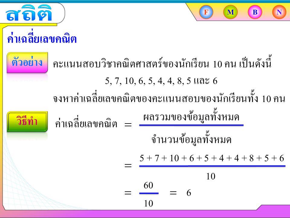 ผลรวมของข้อมูลทั้งหมด FMBN ค่าเฉลี่ยเลขคณิต ข้อมูลชุดหนึ่งมี 5 จำนวน และมีค่าเฉลี่ยเลขคณิตเท่ากับ 8 จงหาว่าข้อมูลชุดนี้มีผลรวมเป็นเท่าใด ค่าเฉลี่ยเลขคณิต ผลรวมของข้อมูลทั้งหมด จำนวนข้อมูลทั้งหมด 5 8 ผลรวมของข้อมูลทั้งหมด 8 5 40